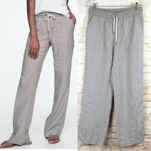 Athleta Stripe Bali Linen Trouser Drawstring Gray